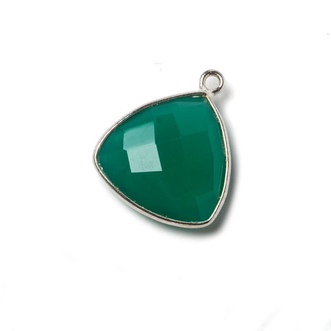 16mm Green Chalcedony Triangle .925 Silver Bezel Pendant 1 ring charm, 1 piece