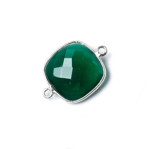 16mm Silver Bezel Green Onyx Cushion Connector 1 pc