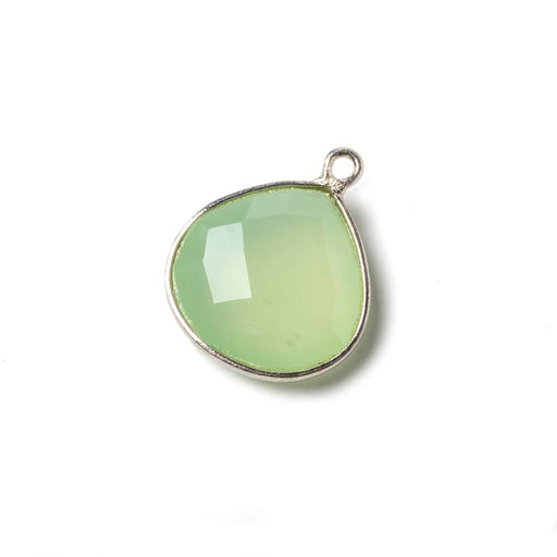 15mm Lime Green Chalcedony Heart .925 Silver Bezel Pendant 1 ring charm, 1 piece