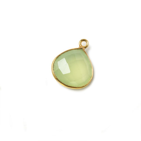 13mm Vermeil Bezel Lime Green Chalcedony Heart Focal Pendant 1 piece