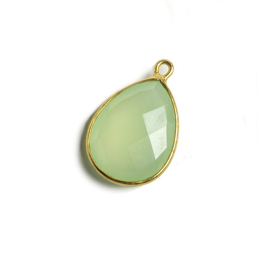 17x13mm Lime Green Chalcedony Pear Vermeil Bezel Pendant 1 ring charm, 1 piece