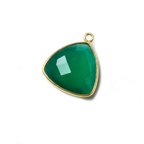 16mm Green Chalcedony Triangle Vermeil Bezel Pendant 1 ring charm, 1 piece