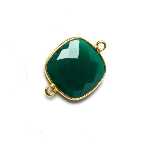 16mm Green Chalcedony Cushion Vermeil Bezel Connector 2 ring charm, 1 piece