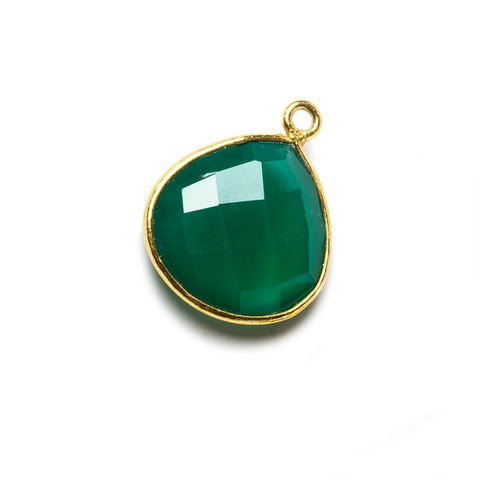 15mm Green Chalcedony Heart Vermeil Bezel Pendant 1 ring charm, 1 piece