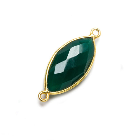 20x11mm Green Chalcedony Marquise Vermeil Bezel Connector 2 ring charm, 1 piece