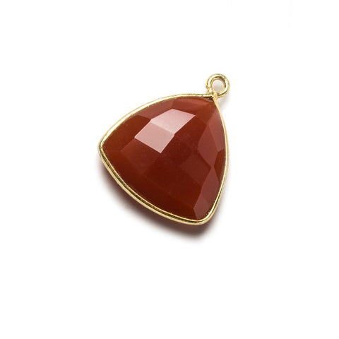 16mm Carnelian Triangle Vermeil Bezel Pendant 1 ring charm, 1 piece