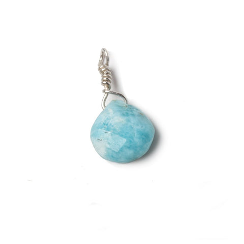 10mm Larimar heart .925 Silver Wire Wrapped Pendant 1 pc