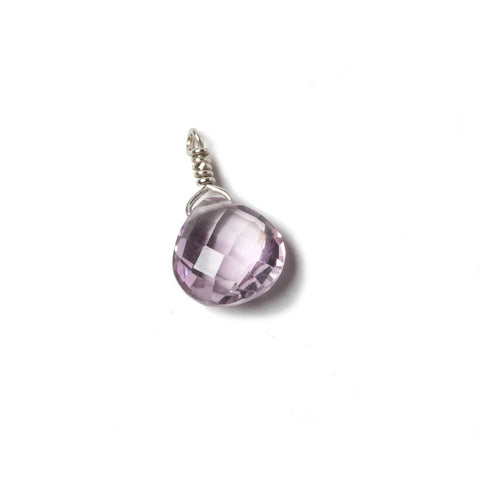 10mm Pink Amethyst heart .925 Silver Wire Wrapped Pendant 1 pc