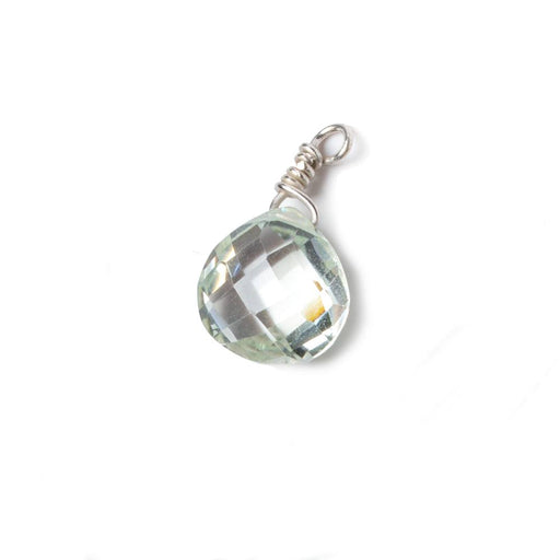 10mm Green Amethyst heart .925 Silver Wire Wrapped Pendant 1 pc