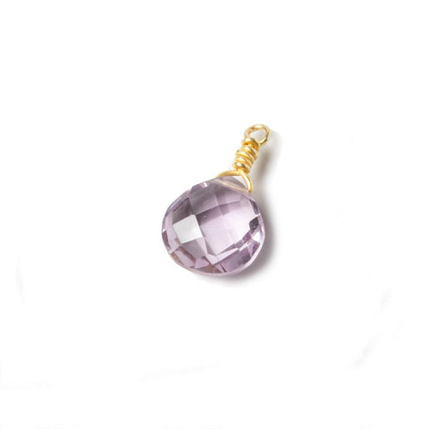 10mm Pink Amethyst heart Vermeil Wire Wrapped Focal Bead 1 pc