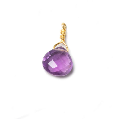 10mm Amethyst heart Vermeil Wire Wrapped Focal Bead 1 pc