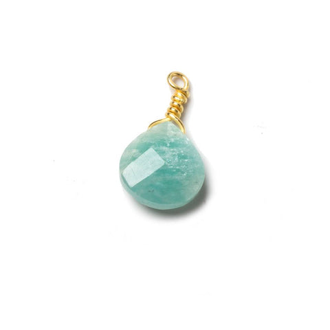 10mm Amazonite heart Vermeil Wire Wrapped Focal Bead 1 pc