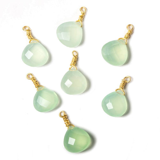 10mm Lime Green Chalcedony heart Vermeil Wire Wrapped Focal Bead 1 pc