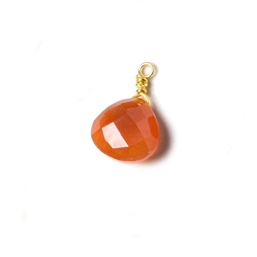 10mm Medium Carnelian heart Vermeil Wire Wrapped Focal Bead 1 pc