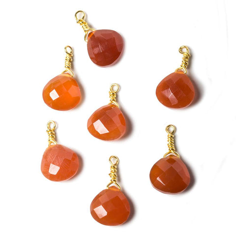 10mm Medium Carnelian heart Vermeil Wire Wrapped Pendant Focal Bead 1 pc