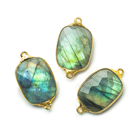 20x16mm 22kt Gold plated Bezel Labradorite Faceted Cushion Connector 1 Focal Bead