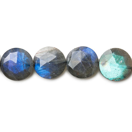 11mm Labradorite faceted coins 8 inches 19 beads