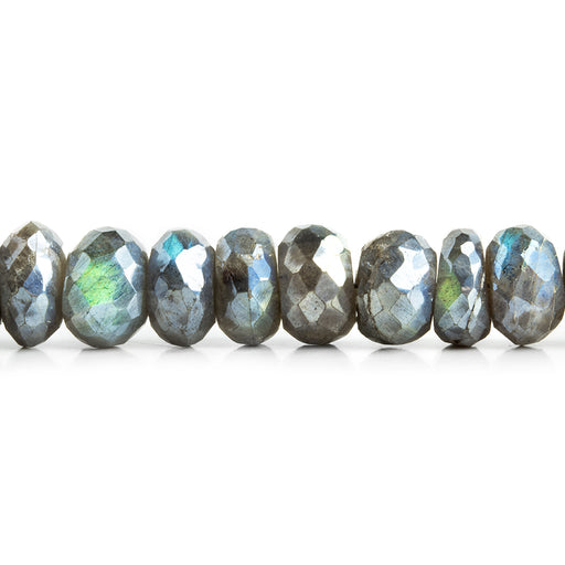 8-9mm Mystic Labradorite faceted rondelle beads 7.5 inch 36 pieces