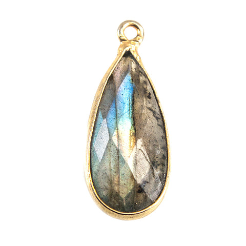 19x11mm 22kt Gold plated Bezel Labradorite Faceted Pear 1 Focal Bead