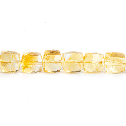 5.5mm-6.5mm Citrine Faceted Cube Beads 8 inch 33 pieces