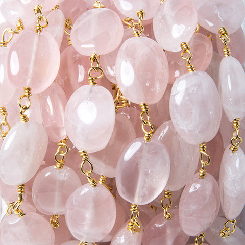 11x9-13x10mm Rose Quartz plain oval Gold Rosary Chain by the foot 15 beads