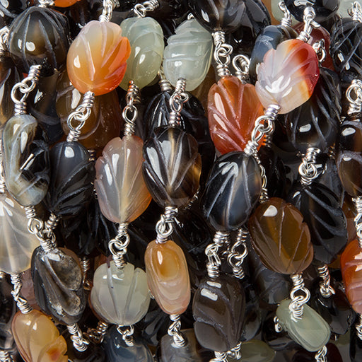 11x8mm MultiColor Agate Carved Leaf Silver Rosary Chain by the foot 17 beads