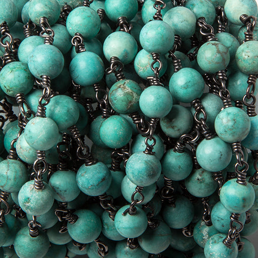 6mm Turquoise Magnesite round Black Gold Rosary Chain by the foot 25 beads