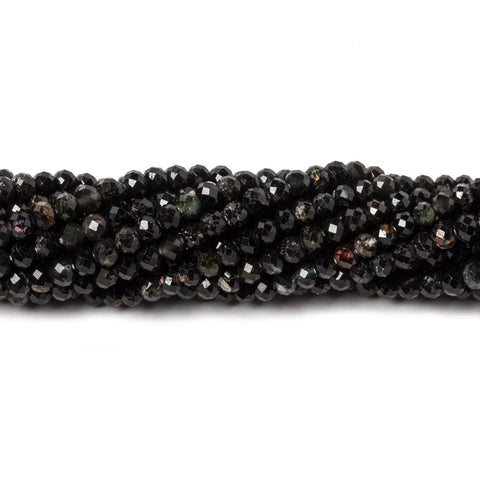 3mm Dark MultiColor Tourmaline MicroFaceted rondelles 13 inch 122 beads