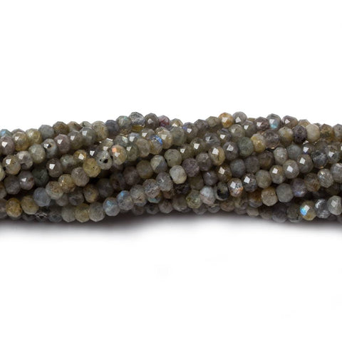 3mm Labradorite MicroFaceted rondelles 13 inch 150 beads