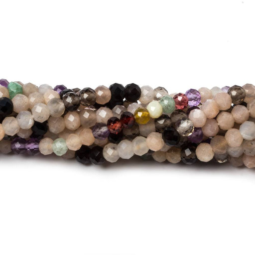 3.5mm Multi Gemstone MicroFaceted Rondelle 13 inch 95 beads