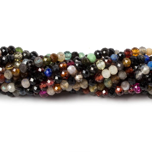 3.5mm Multi Gemstone Mirco-faceted rounds 13 inch 95 beads