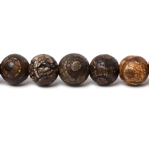 8mm Matte Brown Crackled Tibetan Agate plain rounds 15 inch 47 beads
