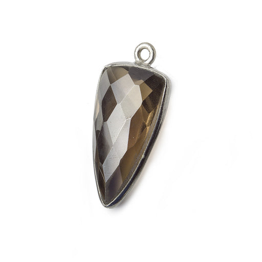21x11mm Black Gold Bezel Smoky Quartz faceted point 1 focal bead
