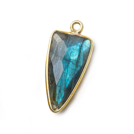21x11mm Vermeil Bezel Labradorite faceted point 1 focal bead