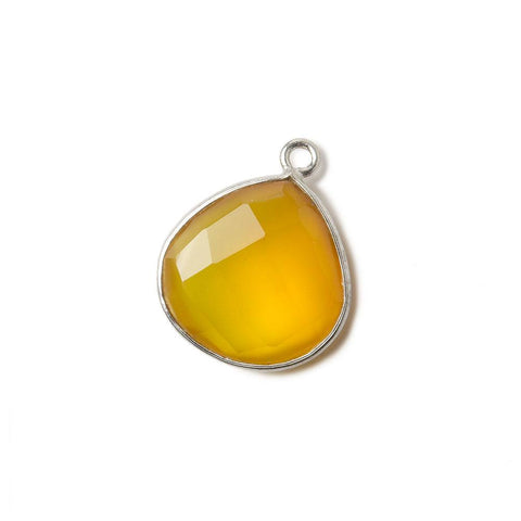15mm Silver .925 Butterscotch Yellow Chalcedony faceted heart Pendant 1 piece