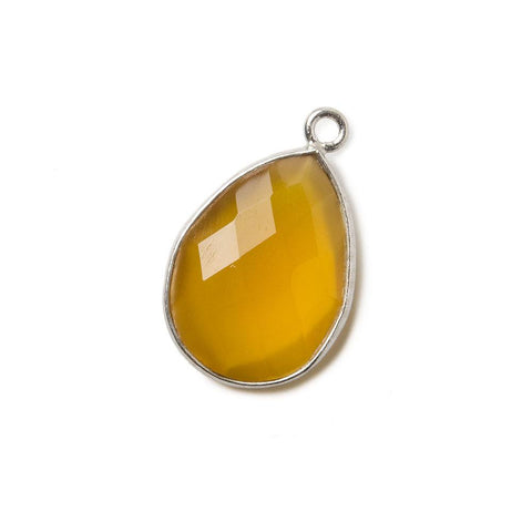 17x13mm Silver .925 Butterscotch Yellow Chalcedony faceted pear Pendant 1 piece