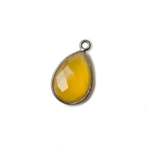 15x11mm Black Gold plated Silver Butterscotch Yellow Chalcedony faceted pear Pendant 1 piece