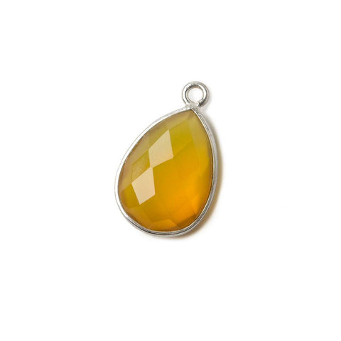 15x11mm Silver .925 Butterscotch Yellow Chalcedony faceted pear Pendant 1 piece