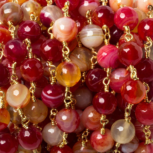 8mm Candy Red Banded Agate Rounds Gold plated Chain by the foot 21 pcs