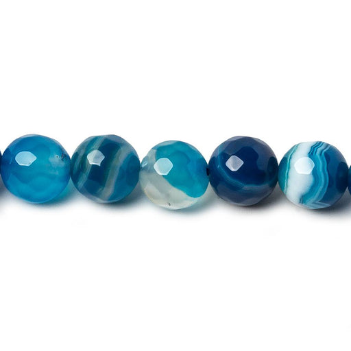 8mm Mediterranean Blue Agate Faceted Rounds 15 inch 45 beads