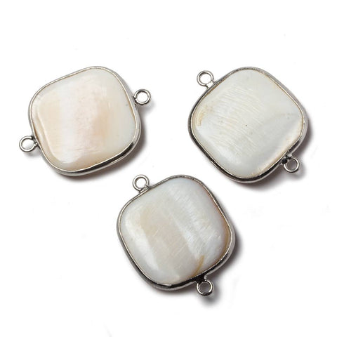 21x21mm Silvertone Bezel Natural Mother of Pearl Square Connector 1 piece