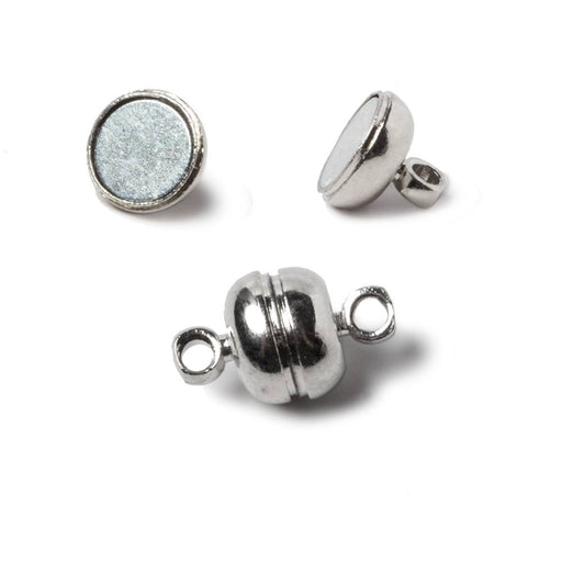 7mm Rhodium Silver plated Brass Ball Magnetic Clasp Set of 5 pieces