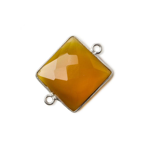 16mm Silver .925 Butterscotch Yellow Chalcedony faceted square Connector 1 piece