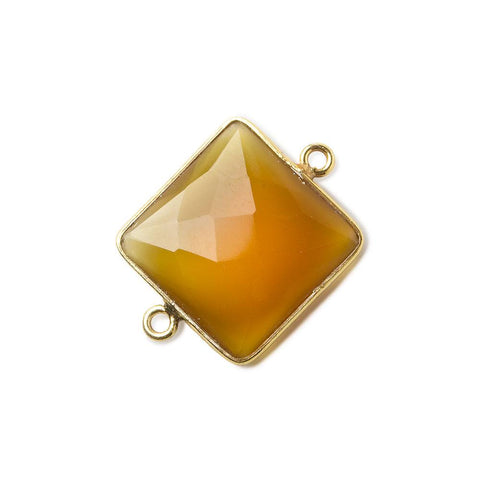 16mm Vermeil Butterscotch Yellow Chalcedony faceted square Connector 1 piece