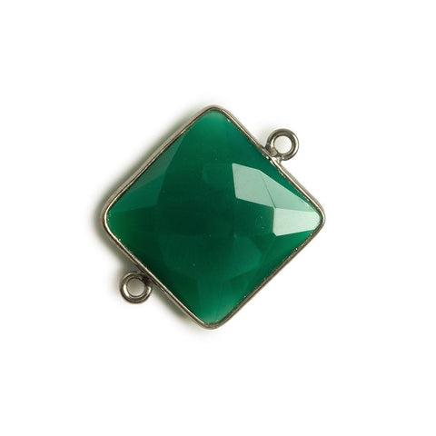 16x16mm Black Gold Bezel Green Onyx Square Connector 1 piece