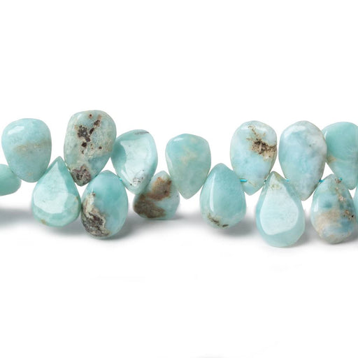 8x5-9x7mm Larimar & Matrix plain pear beads 8 inch 53 pieces