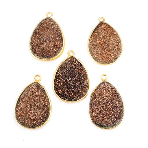 24x15mm Gold plated Bezel Metallic Brown Pear Drusy Focal 1 bead
