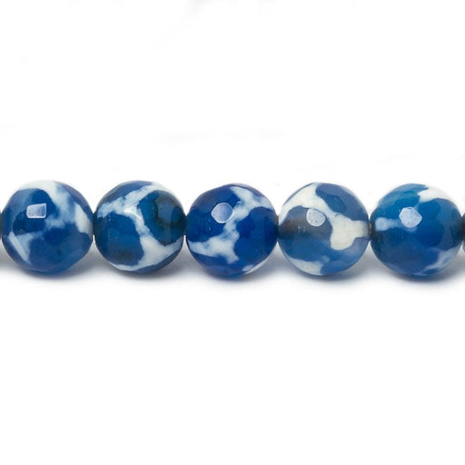 8mm Blue & White Honeycomb Tibetan Agate faceted rounds 15 inch 47 beads