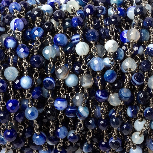 4mm Periwinkle Blue Banded Agate Black Gold plated Chain by the foot 32 beads