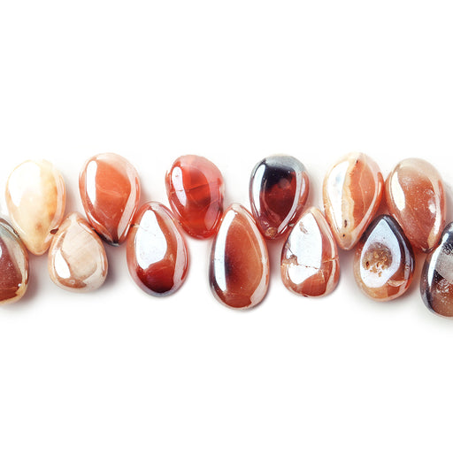 8x6-11x6mm Metallic MultiColor Agate plain pear beads 8 inch 49 pieces